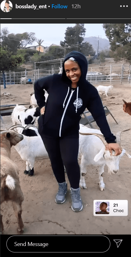 Shante Broadus posing with a group of goats inside a fence in October 2020. I Image: Instagram/ bosslady_ent