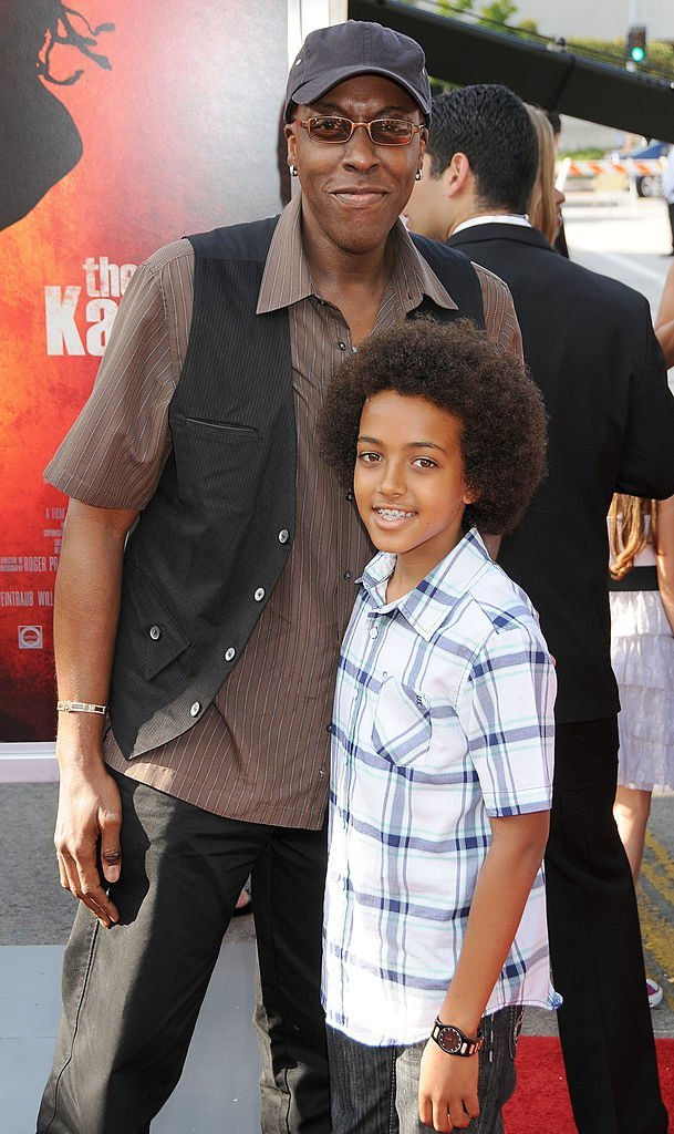 "Arsenio Hall and son arrive at the Los Angles Premiere of ""The Karate Kid"" at the Mann Village Theatre on June 7, 2010  