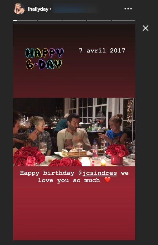 Capture d'écran du message d'anniversaire adressé à Jean-Claude Sindres par Laeticia Hallyday sur son compte Instagram. | Instagram/lhallyday