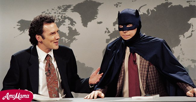 """Norm MacDonald, Michael McKean as Adam West 'Batman' during """"Weekend Update"""" on May 13, 1995. 