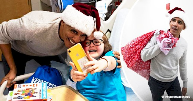 Barack Obama fills in for Santa Claus & hands out surprise gifts to sick children at a hospital