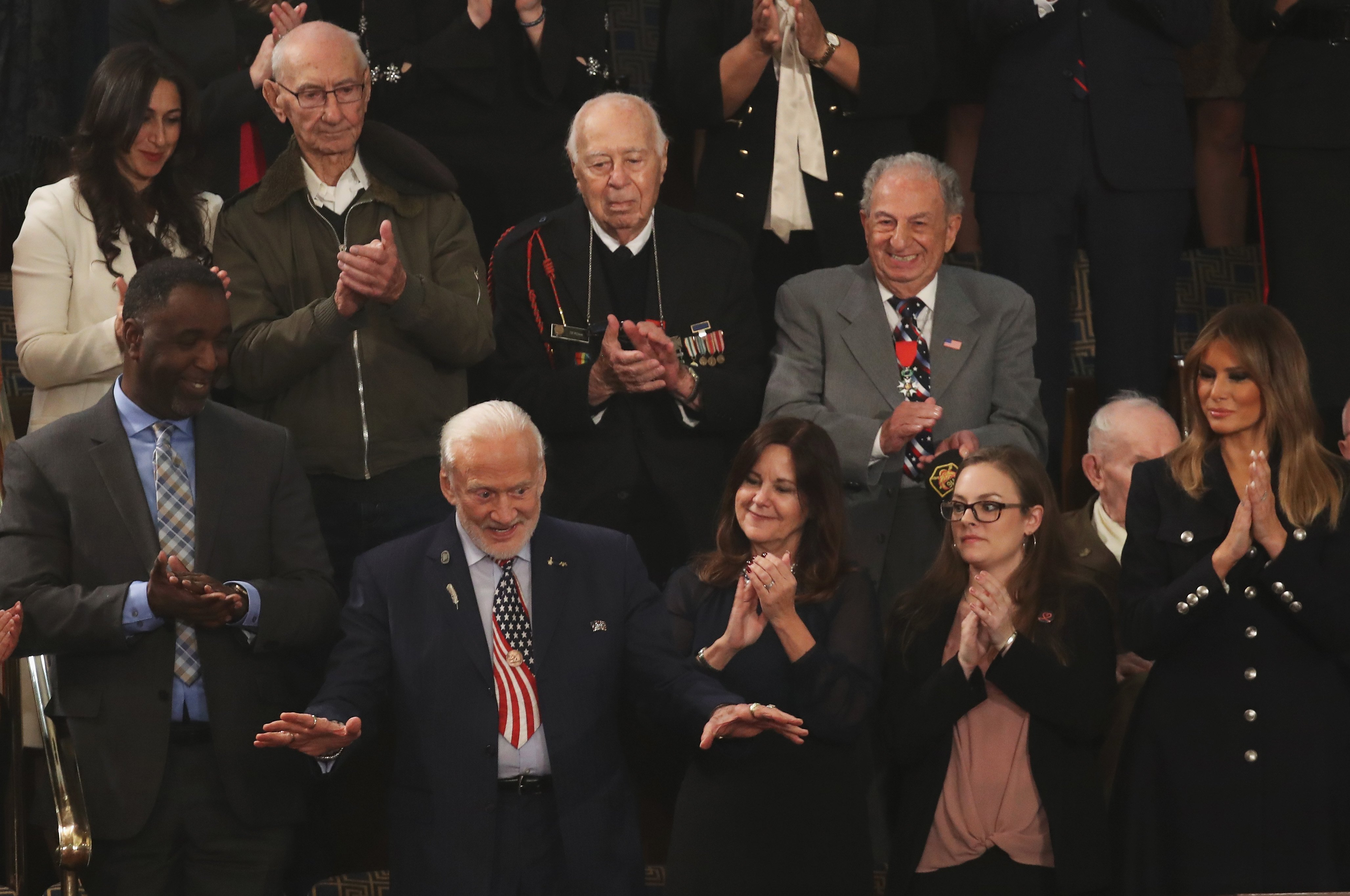 Buzz Aldrin reacting to a standing ovation during the State of the Union address | Photo: Getty Images