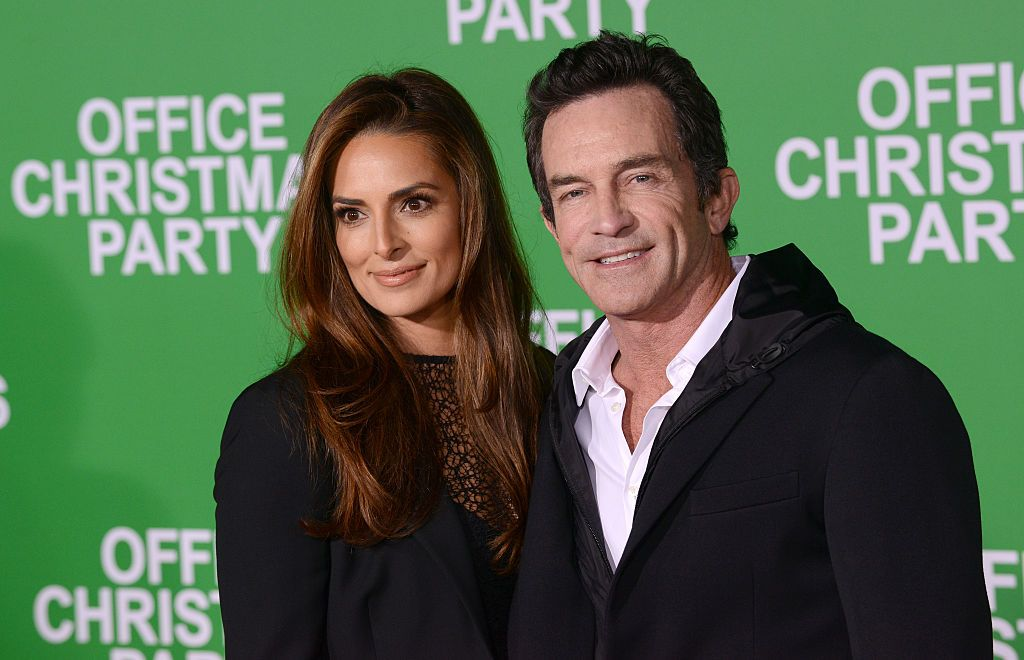 """Lisa Ann Russell and Jeff Probst at the premiere of """"Office Christmas Party"""" in 2016 in Westwood, California 