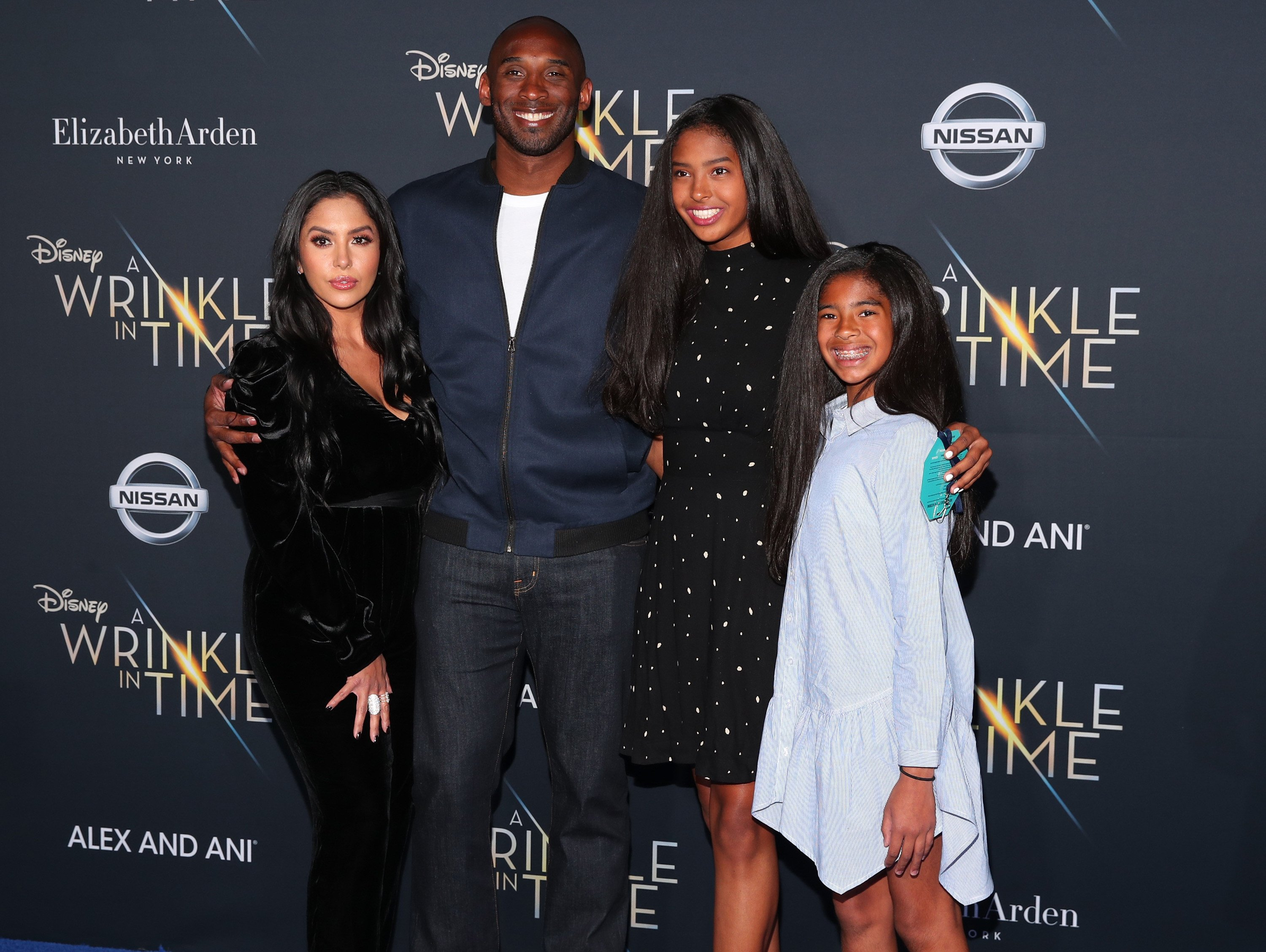 """Kobe Bryant and his family at the premiere of Disney's """"A Wrinkle In Time"""" at the El Capitan Theatre on February 26, 2018 in Los Angeles, California.