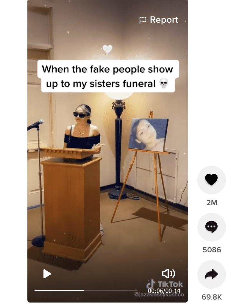 Woman who called out attendees at her sister's funeral.   Photo: tiktok.com/@jazzklassykushco