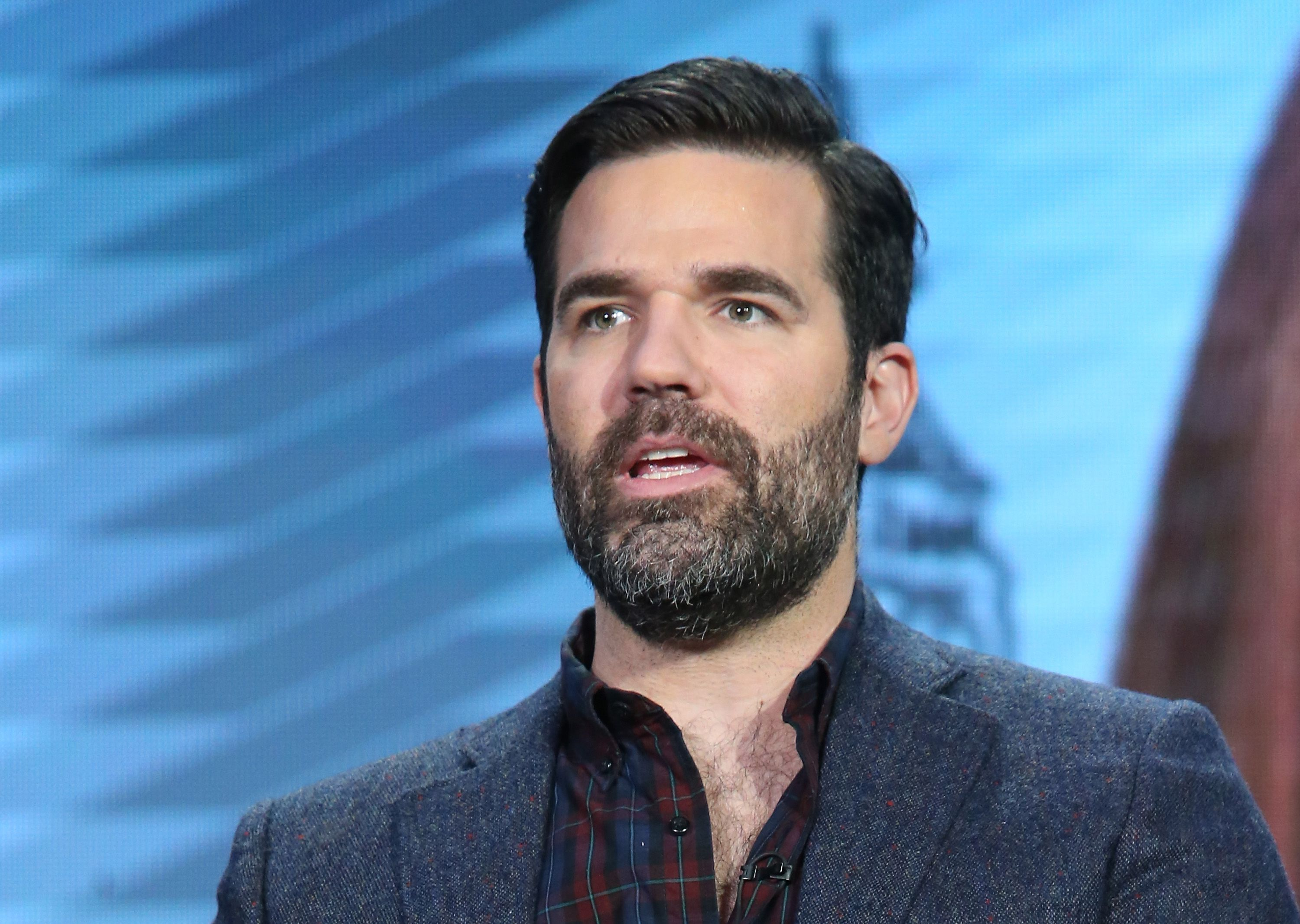 Rob Delaney speaks onstage during the Catastrophe panel as part of the Amazon portion of the 2016 Television Critics Association Winter Tour at Langham Hotel on January 11, 2016 in Pasadena, California. | Source: Getty Images