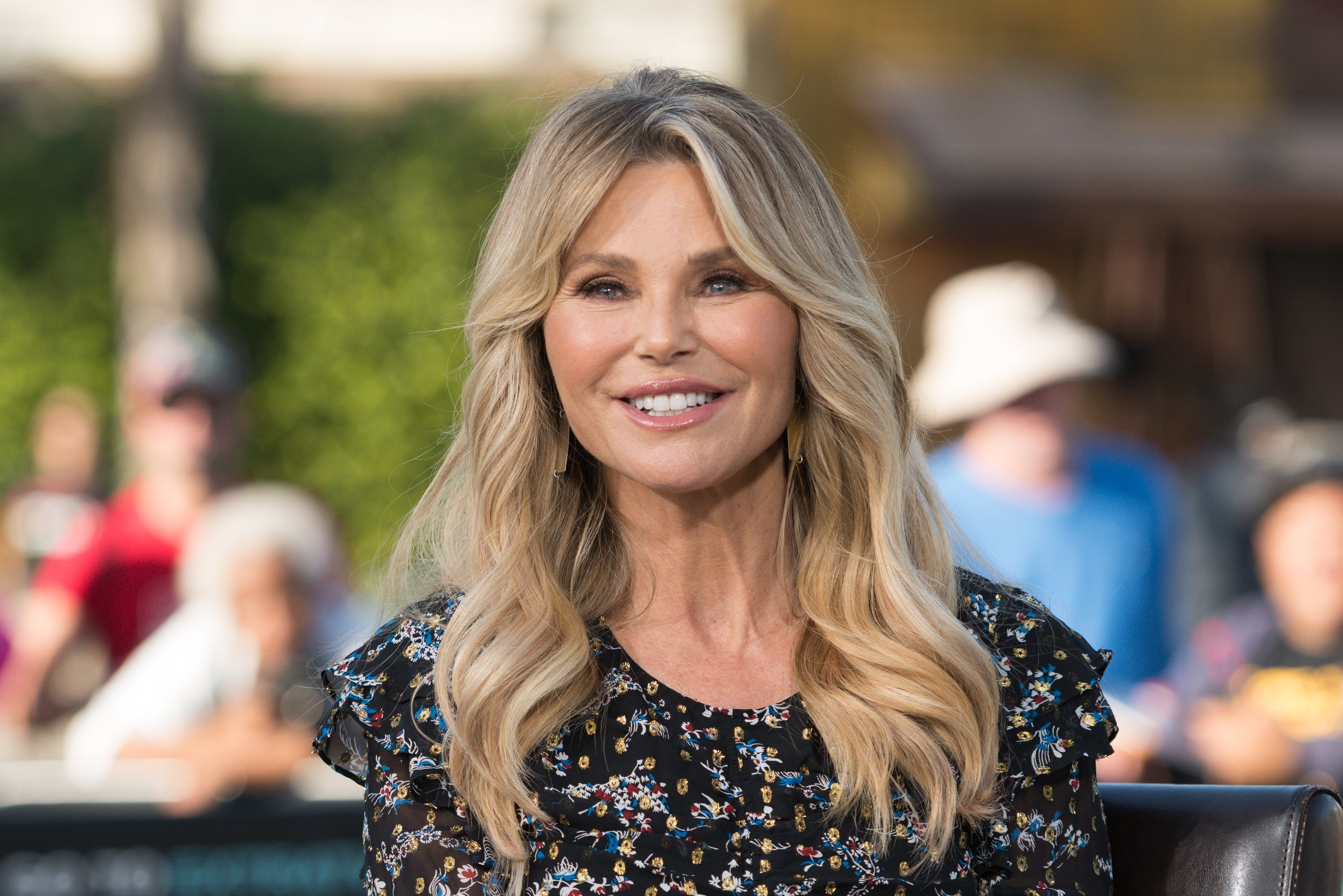 "Christie Brinkley visits ""Extra"" at Universal Studios Hollywood on January 18, 2018, in Universal City, California. 