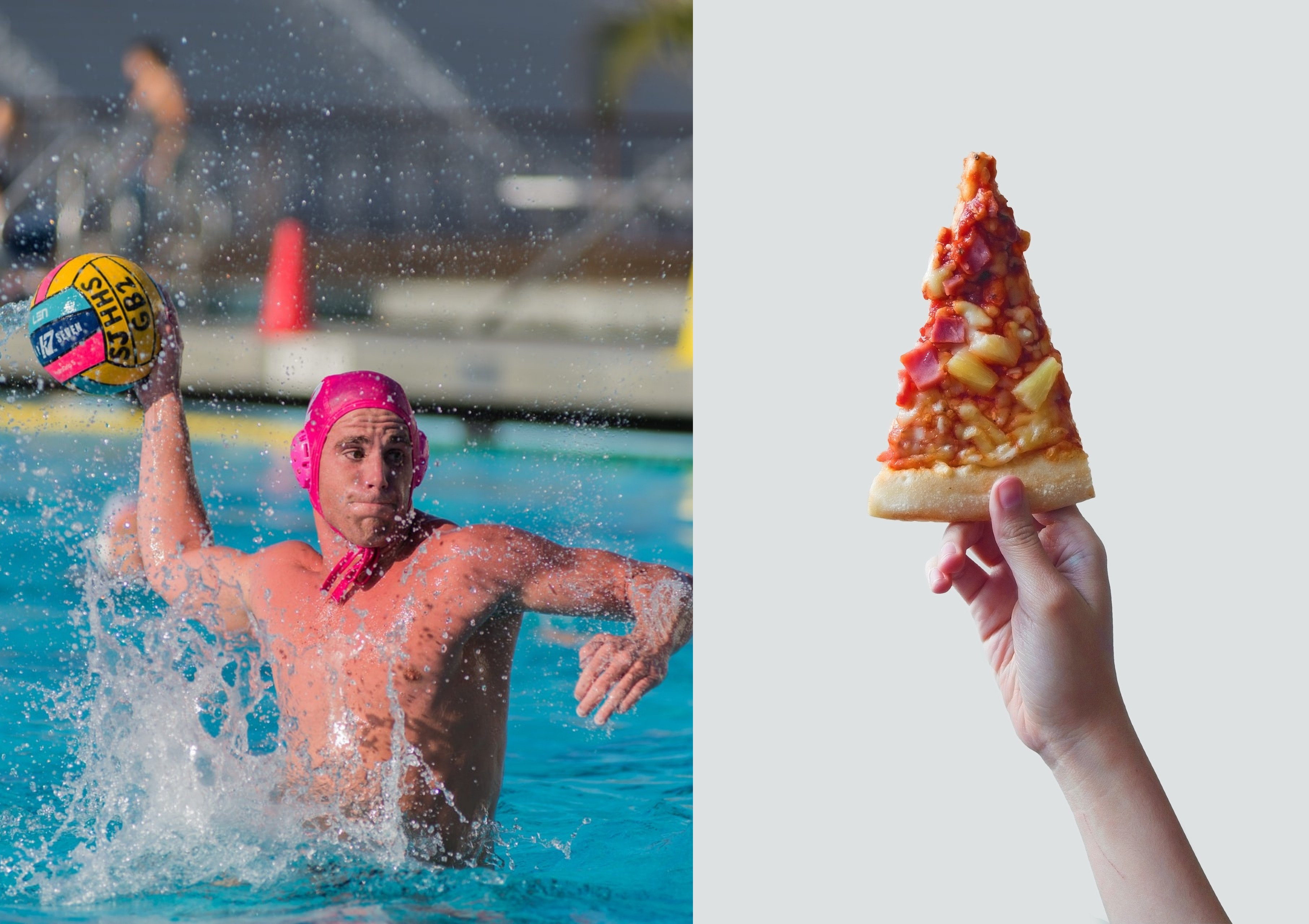 Water polo player in the middle of a game alongside hand holding up slice of hawaiian pizza | Source: Unsplash - Unsplash