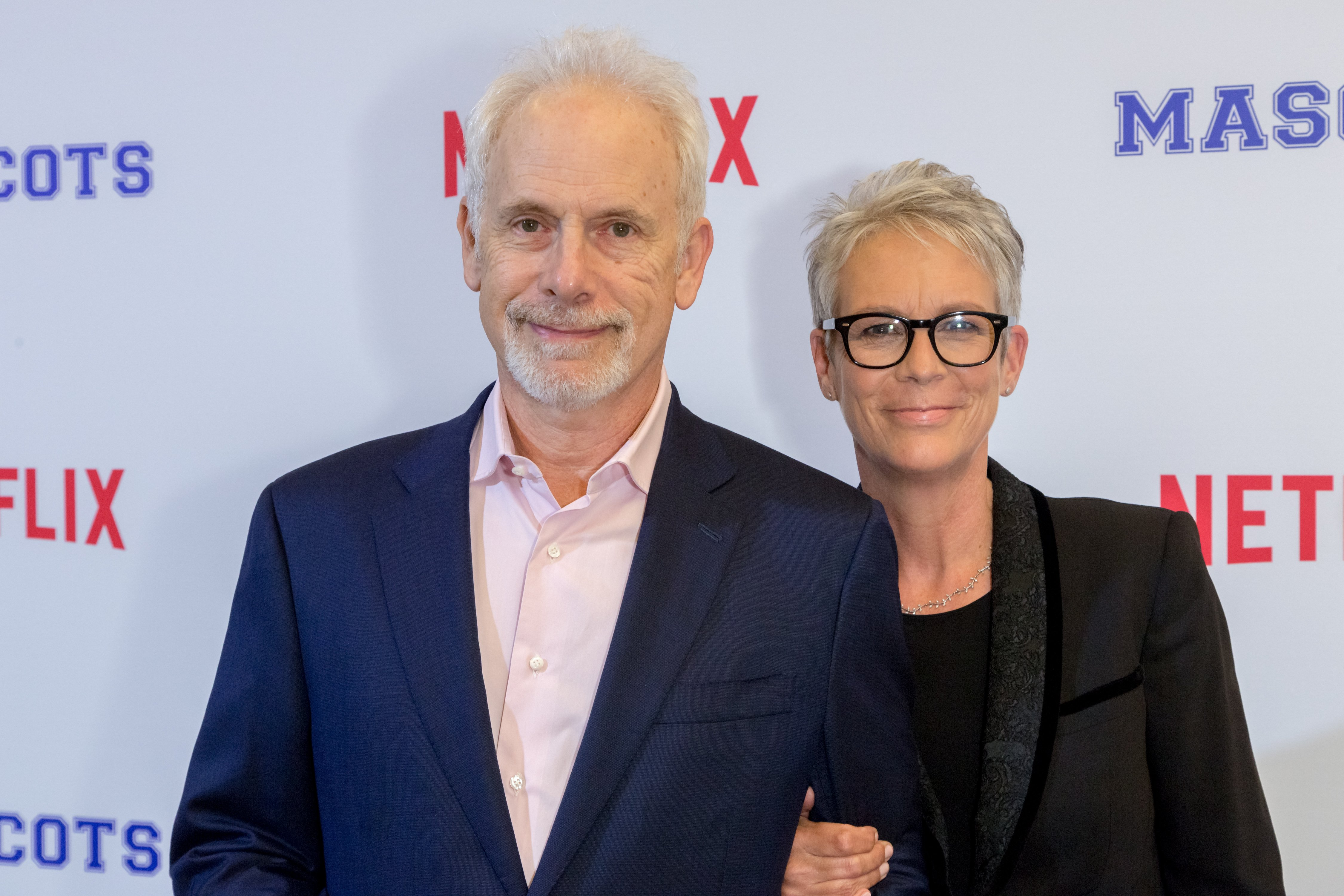 """Christopher Guest and actress Jamie Lee Curtis arrive at a Screening Of Netflix's """"Mascots"""" at the Linwood Dunn Theater on October 5, 2016 in Los Angeles, California 