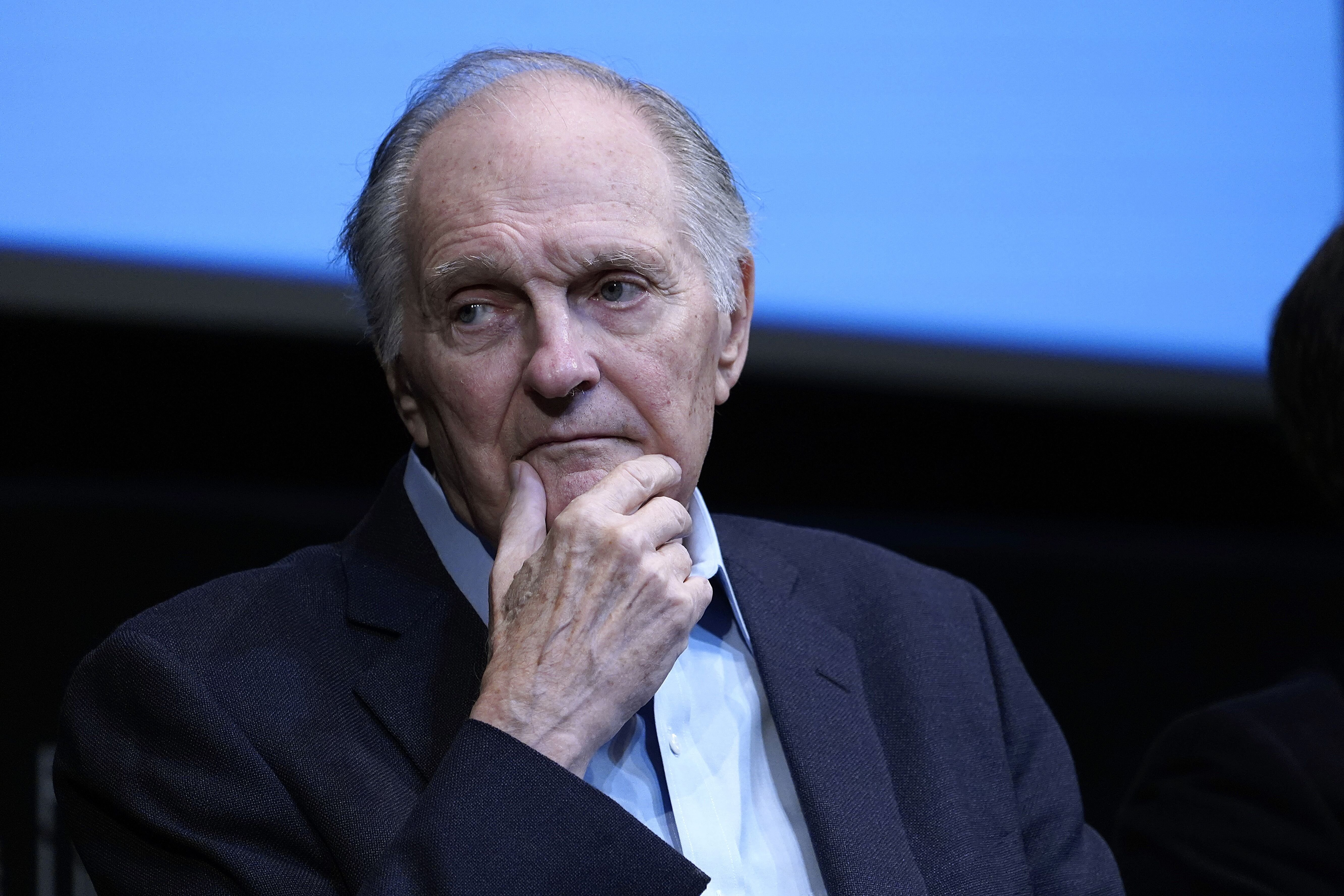 "Alan Alda speaks during the film discussion of ""Marriage Story"" during the press conference at Walter Reade Theater on October 04, 2019 in New York City 