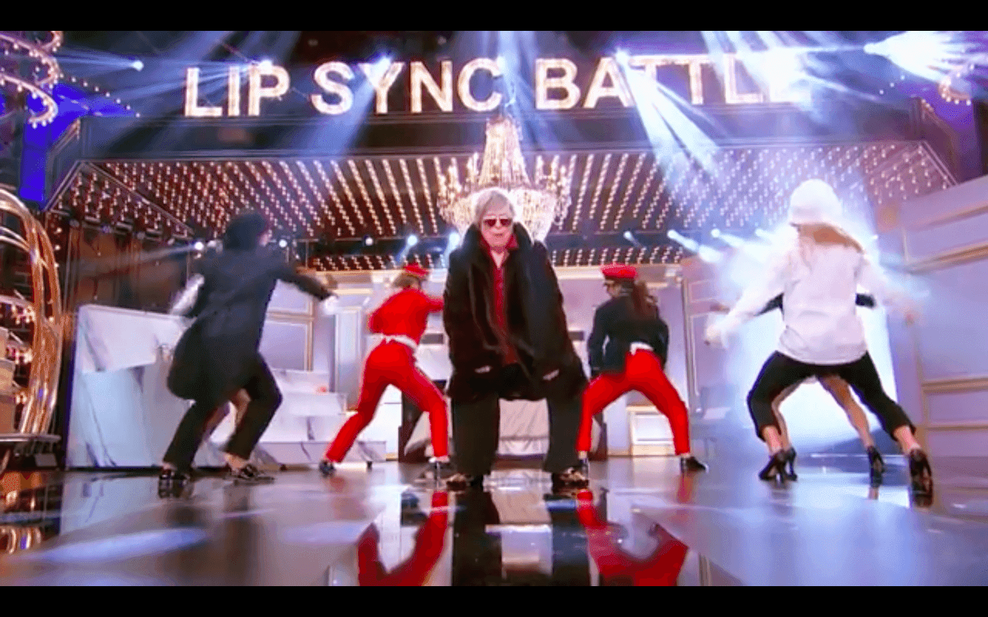 Kathy Bates takes to the Lip-sync battle stage. Image credit: Facebook/Lip-sync battle