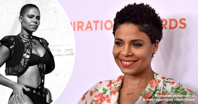 Sanaa Lathan leaves nothing to the imagination in cutout monokini and jacket in recent photo