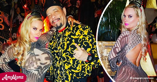 Ice-T's wife turns heads in sheer backless catsuit at their 18th wedding anniversary