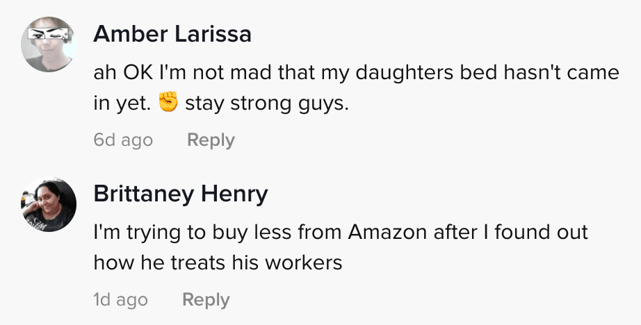 Comment section of viral TikTok video in which an Amazon employee claims that everyone has quit   Photo: TikTok/dominic_giannini