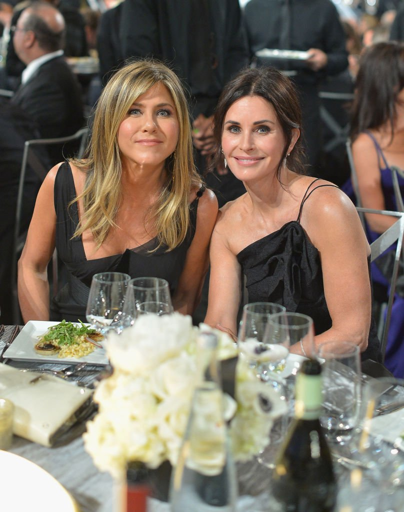 Jennifer Aniston (L) and Courtney Cox attend the American Film Institute's 46th Life Achievement Award Gala Tribute to George Clooney at Dolby Theatre on June 7, 2018 in Hollywood, California.   Source: Getty Images