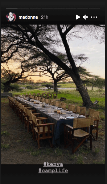 Madonna shares a picture of their outdoor dining area during her trip to Kenya with her boyfriend Ahlamalik Williams. | Source: Instagram/madonna.