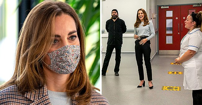 Kate Middleton Makes Stylish Appearance in Floral Mask and Chic Coat at the University of Derby