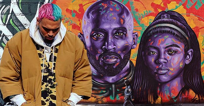 Chris Brown Shares Photo of Kobe and Gigi Bryant's Colorful Street Mural Created by Mark Paul Deren