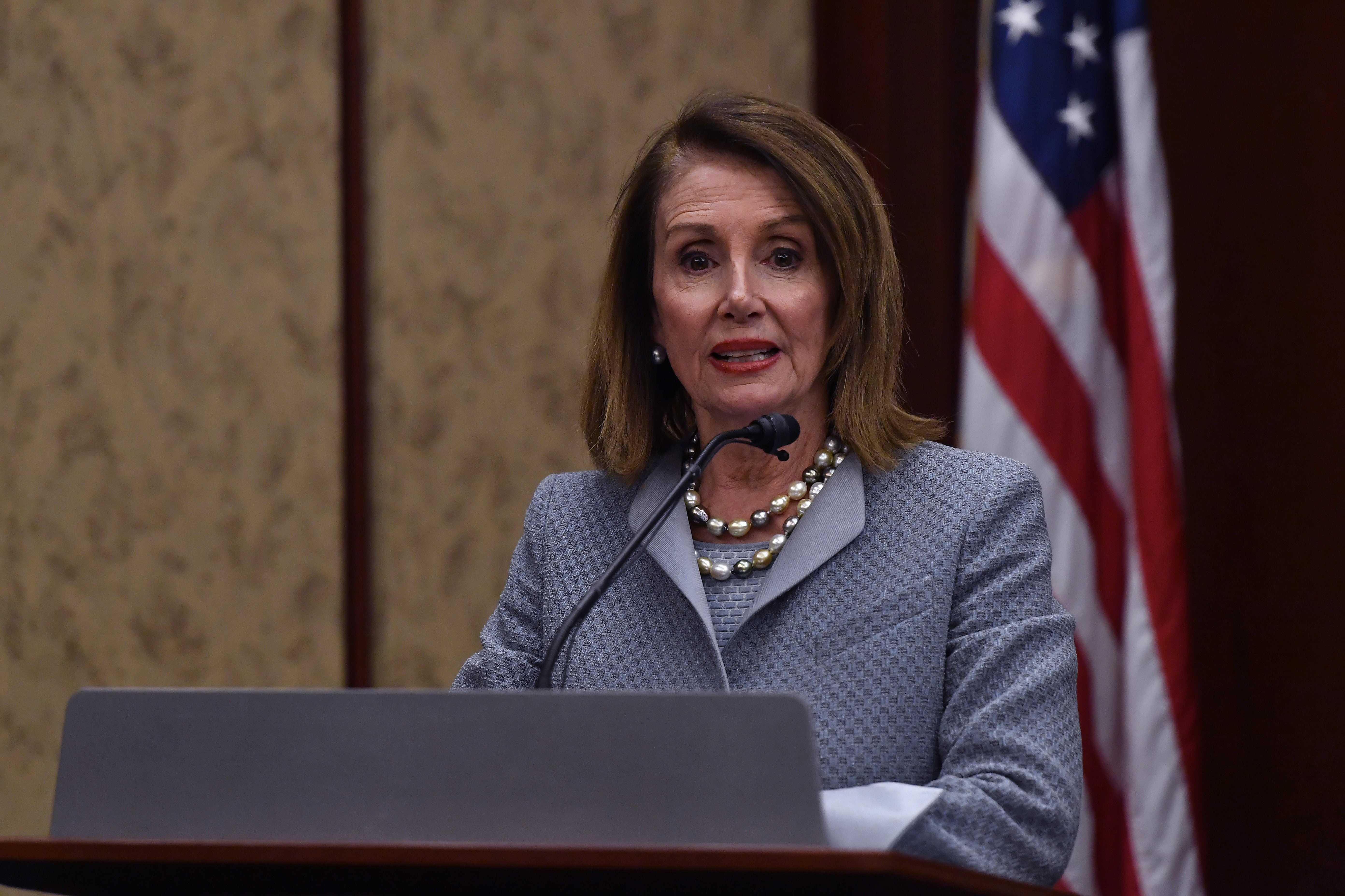 House Speaker Nancy Pelosi delivering a speech at the screening of TransMilitary on Capitol Hill | Photo: Getty Images