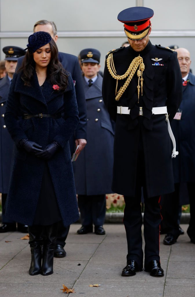 Meghan Markle and Prince Harry attend the annual Field of Remembrance in London, England on November 7, 2019. | Photo: Getty Images