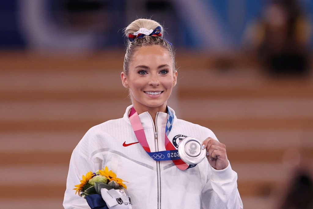 United States Athlete MyKayla Skinner posing with her silver medal on the podium during the Women's Vault Final medal ceremony of the 2020 Tokyo Olympic Games in Tokyo, Japan | Photo: Laurence Griffiths/Getty Images