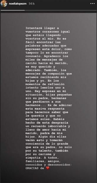 Mensaje publicado por Noelia López en Instagram  Foto: Instagram/ Noelialopezm