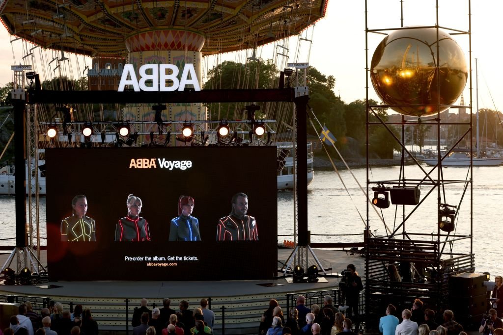 Members of the Swedish group ABBA are seen on a display during their Voyage event, September 2021 | Source: Getty Images