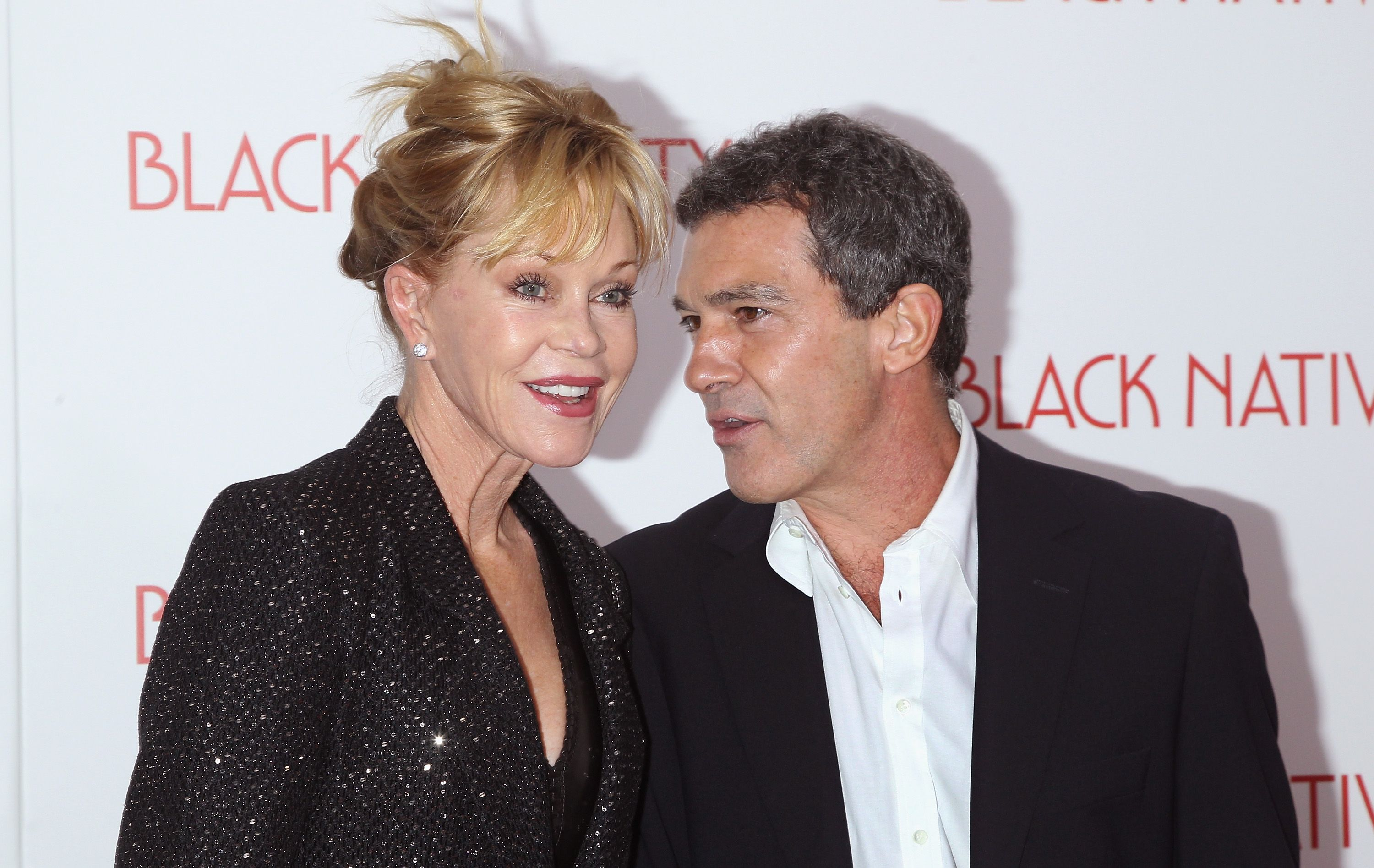 """Melanie Griffith and Antonio Banderas at the """"Black Nativity"""" premiere in 2013 in New York City   Source: Getty Images"""