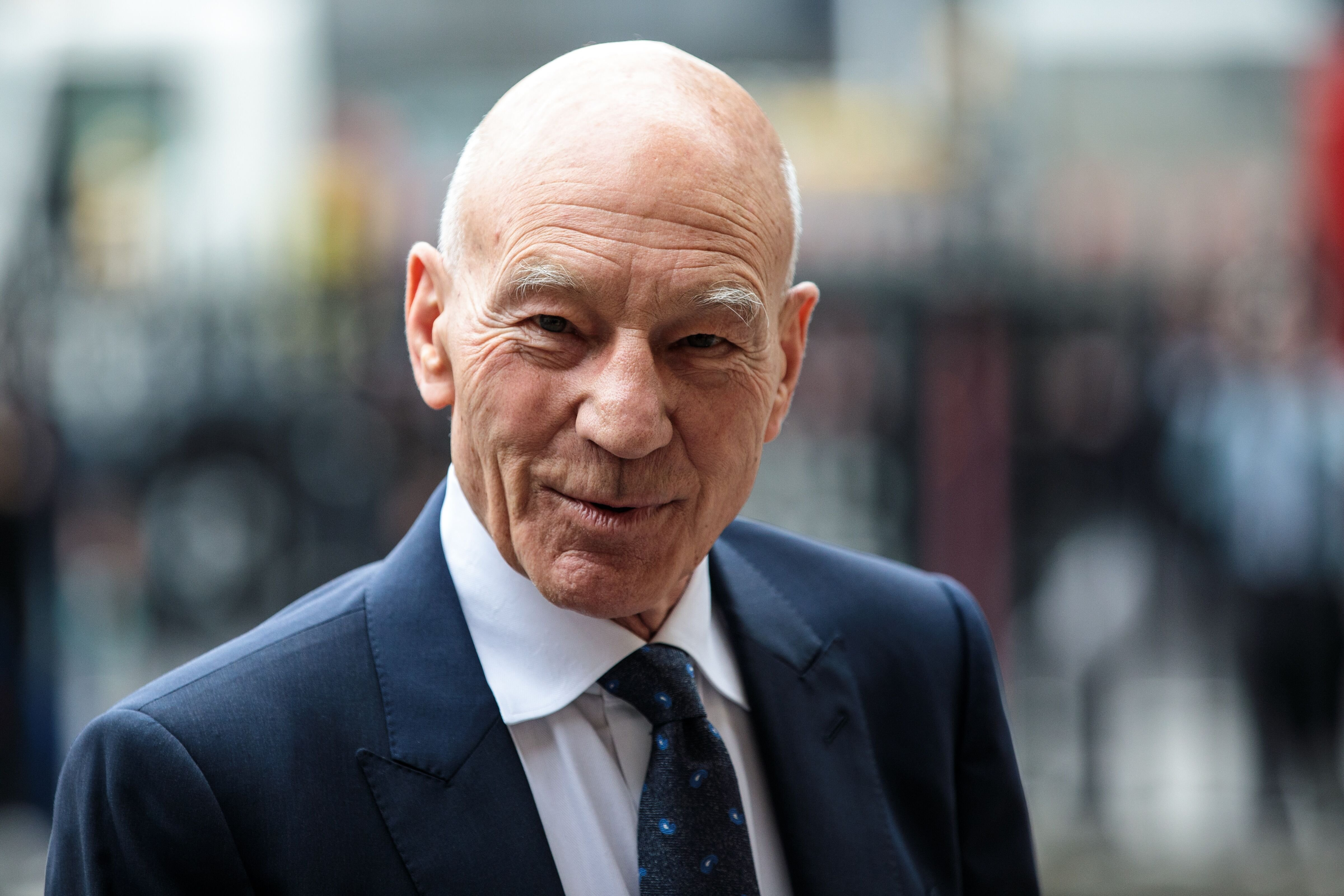 Patrick Stewart at Westminster Abbey for a memorial service for Sir Peter Hall OBE on September 11, 2018, in London, England | Photo: Jack Taylor/Getty Images