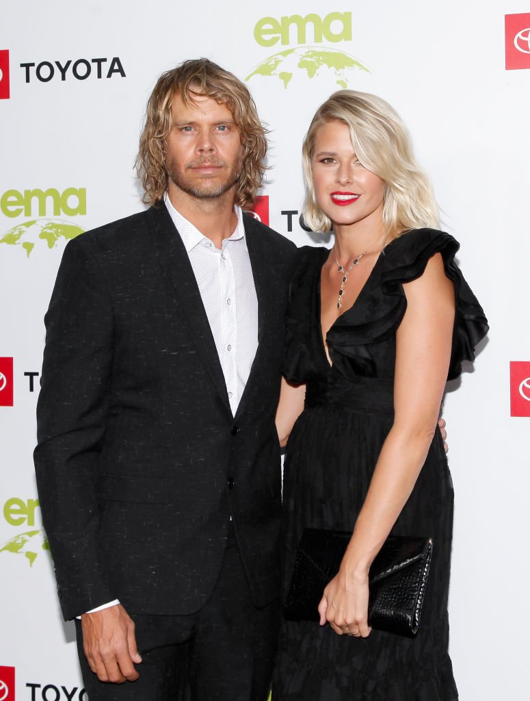 Eric Christian Olsen and his wife Sarah Wright. I Image: Getty Images.