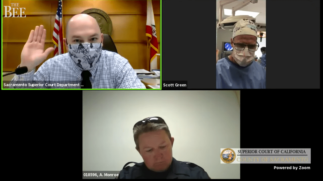 Dr. Scott Green makes court appearance while performing operation.   Photo: YouTube/Sacramento Bee