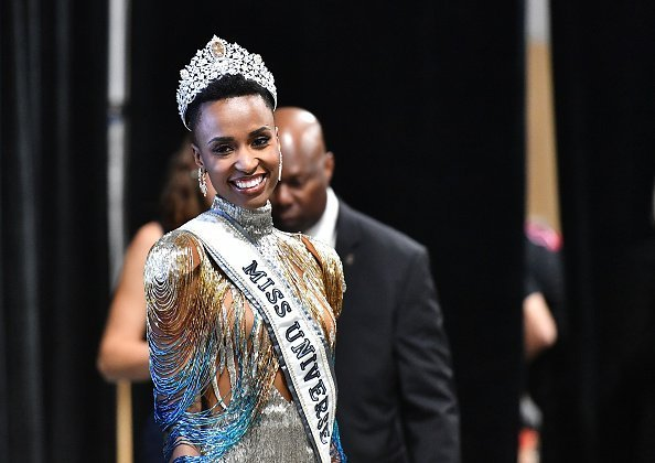 Miss Universe 2019 Zozibini Tunzi, of South Africa at Tyler Perry Studios in Atlanta, Georgia | Photo: Getty Images