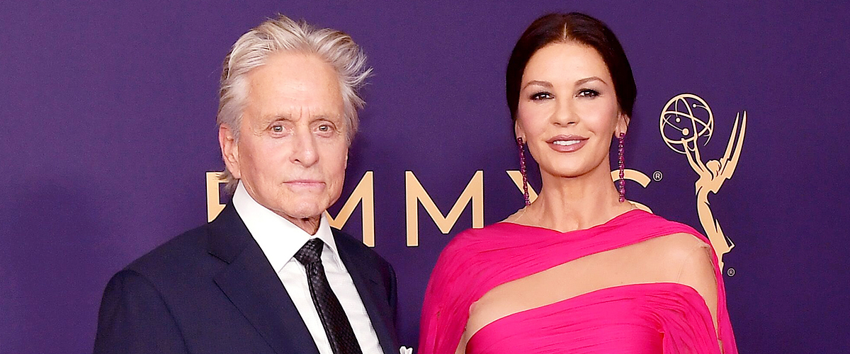 Catherine Zeta-Jones Shares Affectionate Kiss with Her Father-In-Law Kirk Douglas