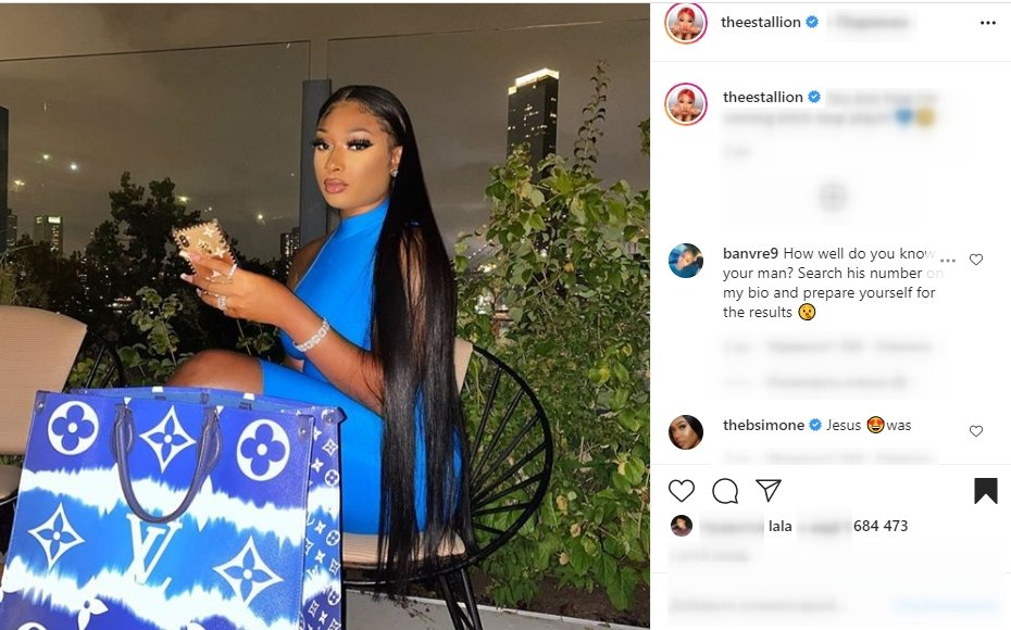 A picture of Megan Thee Stallion in a stunning blue dress on social media | Photo: Instagram/theestallion