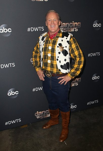 "Sean Spicer poses at ""Dancing with the Stars"" Season 28 at CBS Television City in Los Angeles."
