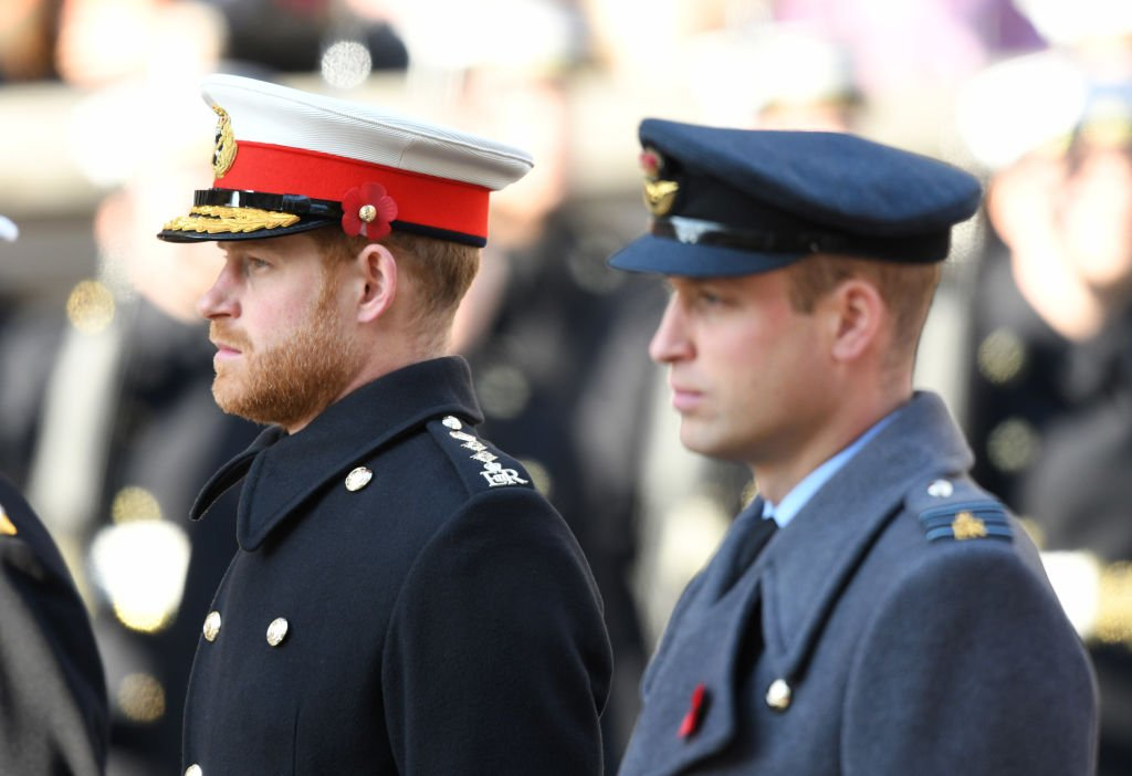 Prince Harry and Prince William march in a ceremony for the Remembrance Sunday memorial, at The Cenotaph, on November 10, 2019, in London, England | Source: Getty Images (Photo by Karwai Tang/WireImage)
