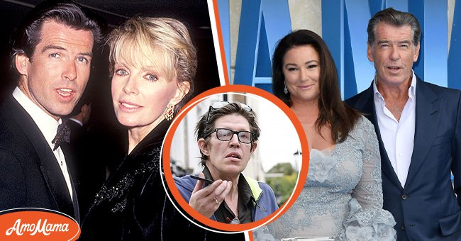 Pictures of actor Pierce Brosnan with his late wife Cassandra Harris, with his current wife Keely Shaye Smith, and his son Christopher | Photo: Getty Images