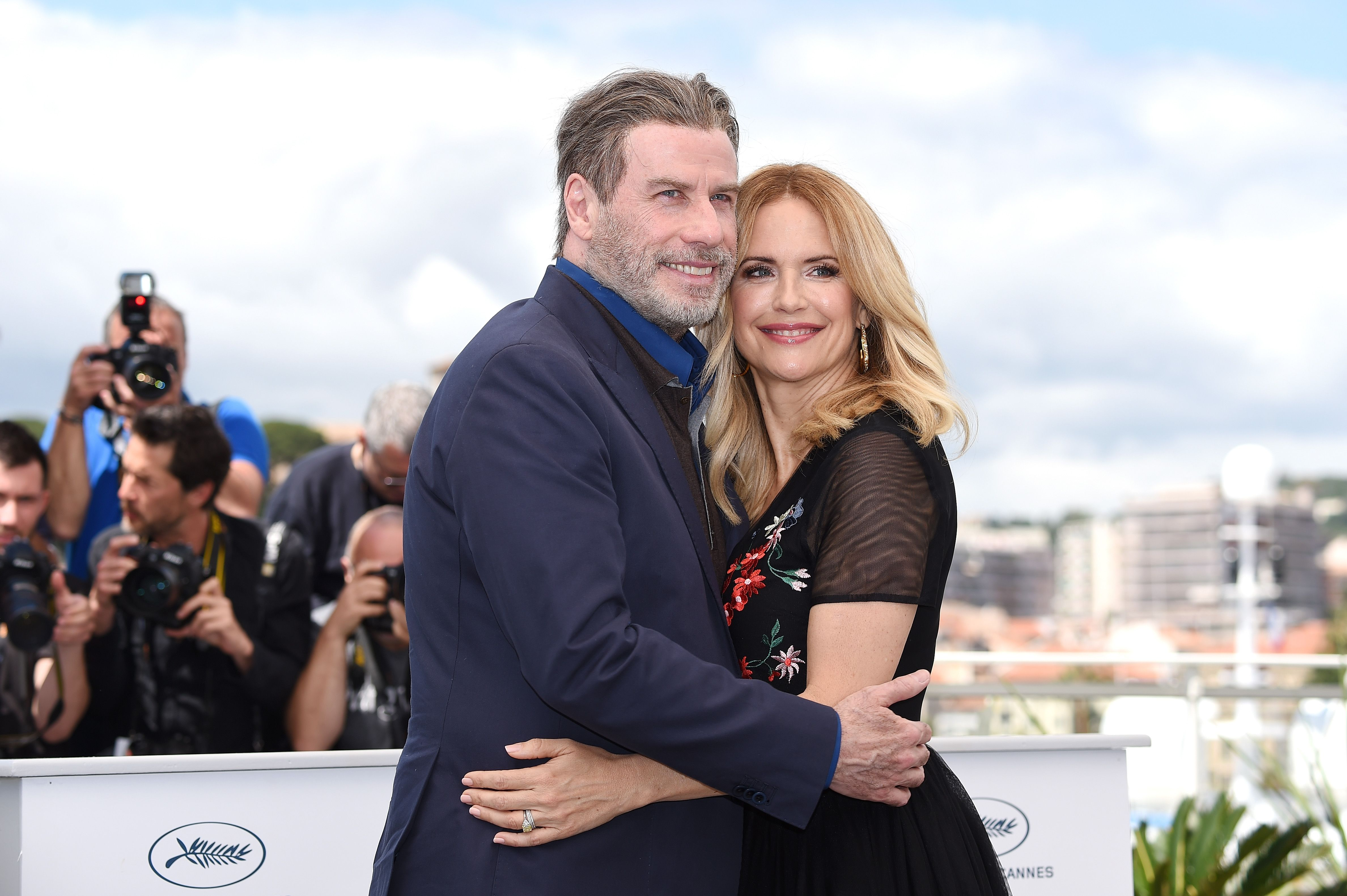 """Kelly Preston and John Travolta at """"Rendezvous With John Travolta - Gotti"""" Photocall during the 71st annual Cannes Film Festival at Palais des Festivals on May 15, 2018   Photo: Getty Image"""
