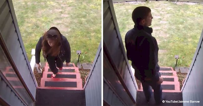 Thief tries to steal a box but homeowner has a perfect plan to stop her (video)