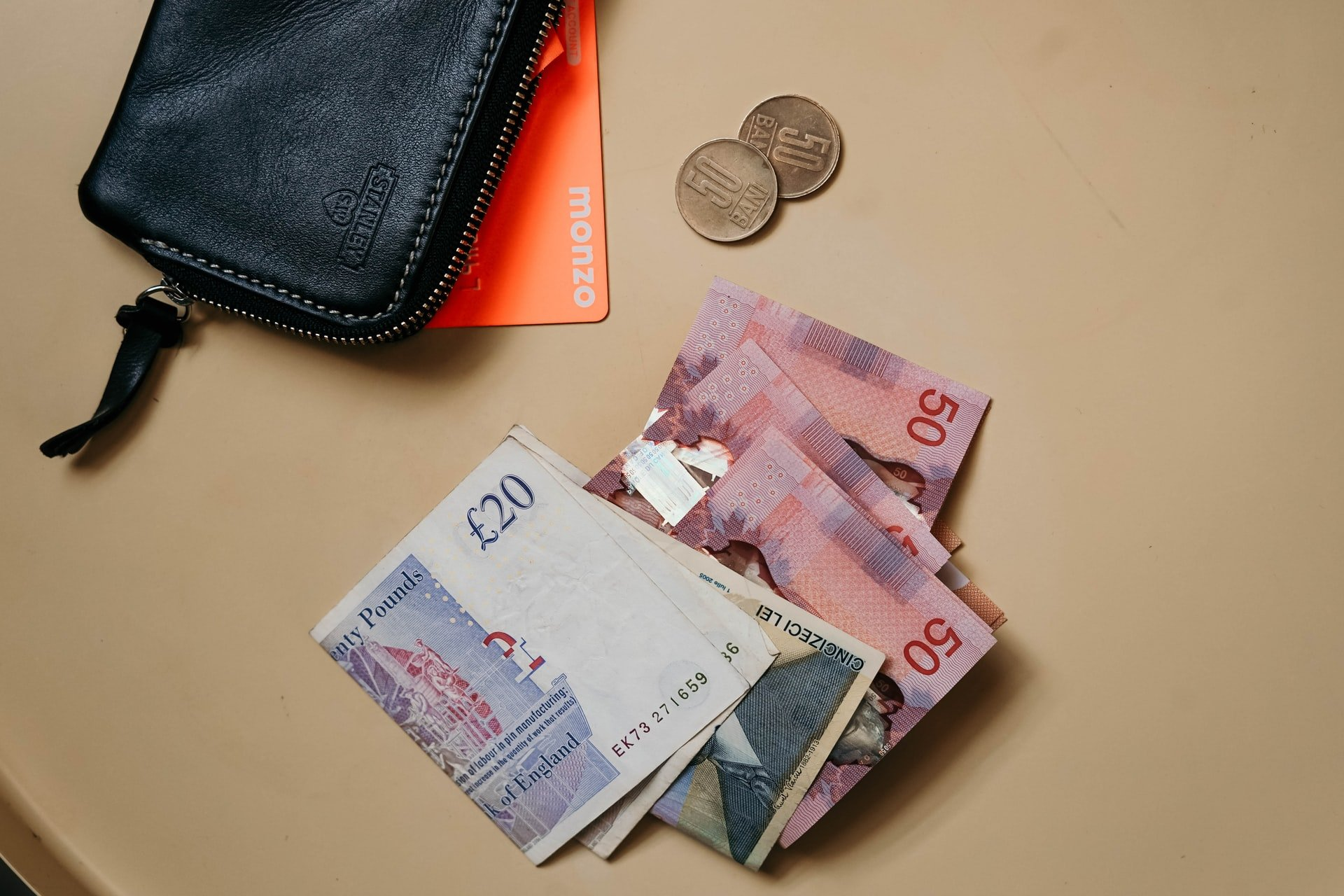 Wallet with banknotes and coins on table   Source: Unsplash