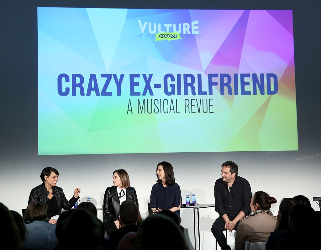 Moderator Stacey Wilson Hunt and actors Adam Schlesinger, Rachel Bloom and Aline Brosh McKenna speak at 'Crazy Ex Girlfriend: A Musical Revue' at the Vulture Festival at Milk Studios on May 21, 2016 in New York City | Photo: Getty Images