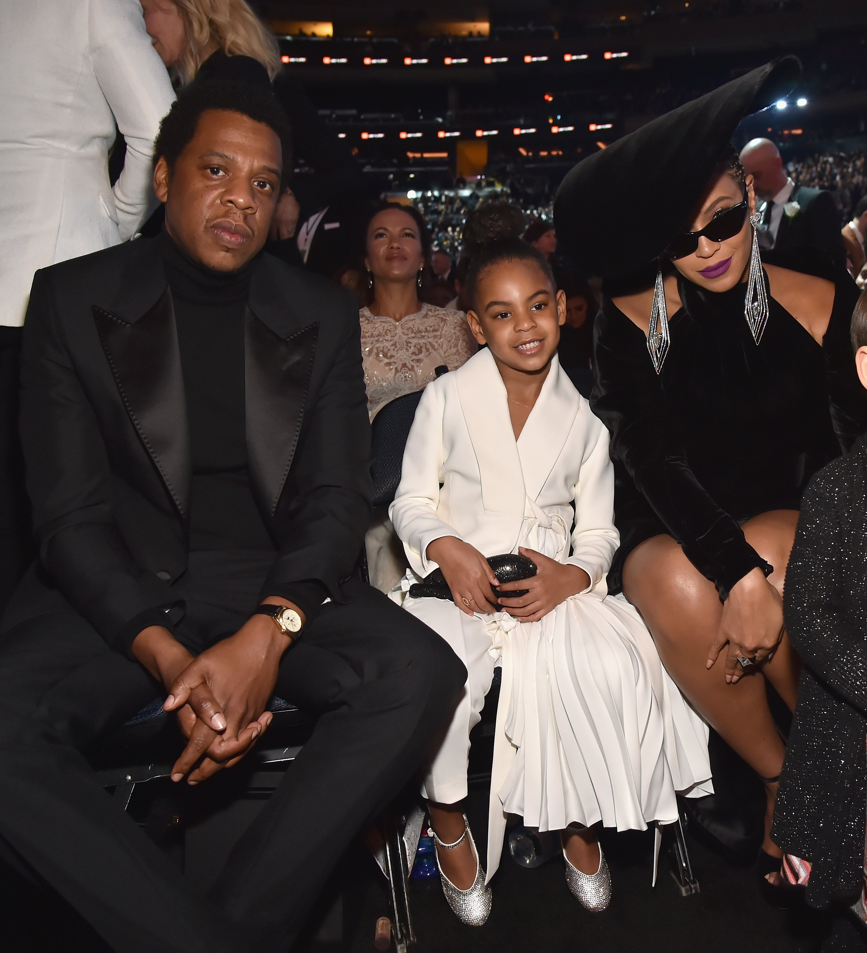 Jay-Z and Beyonce, with eldest daughter, Blue Ivy Carter at the 60th Annual Grammy Awards in January 2018. | Photo: Getty Images