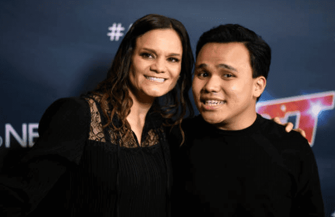 "Kodi Lee and his mother, Tina Lee on the red carpet at the finale for ""America's Got Talent"" Season 14, at Dolby Theatre, on September 18, 2019, California 
