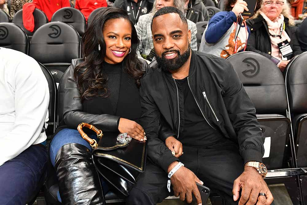 Kandi Burruss and Todd Tucker attend Indiana Pacers vs Atlanta Hawks game at State Farm Arena on January 04, 2020 in Atlanta, Georgia. I Image: Getty Images.