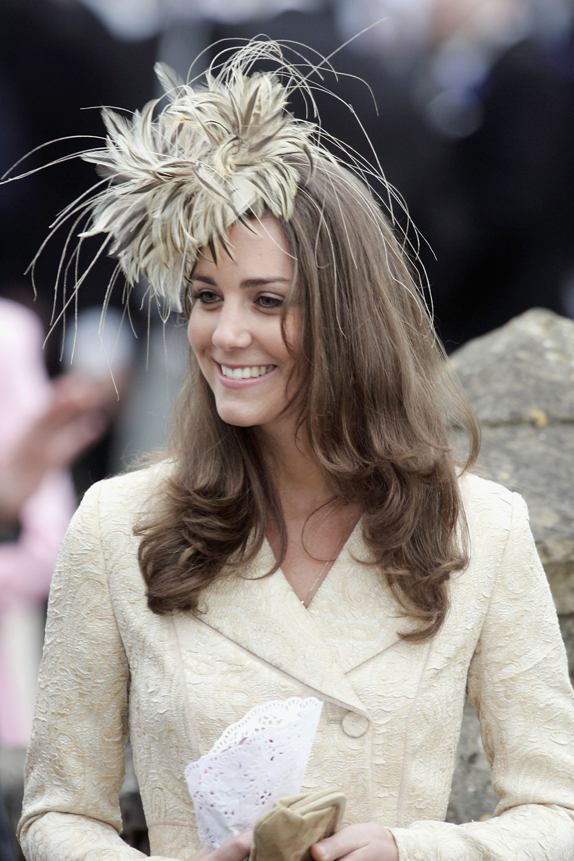 Kate Middleton, girlfriend of Prince Willliam, attends as wedding guest at the marriage of Laura Parker-Bowles and Harry Lopes at St Cyriac's Church, Lacock, on May 6, 2006 | Photo: GettyImages