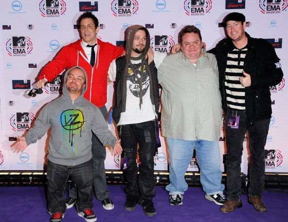 """Jason Acuna aka Wee Man, Johnny Knoxville, Bam Margera, and Preston Lacy of """"Jackass"""" at the La Caja Magica on November 7, 2010 in Madrid, Spain 