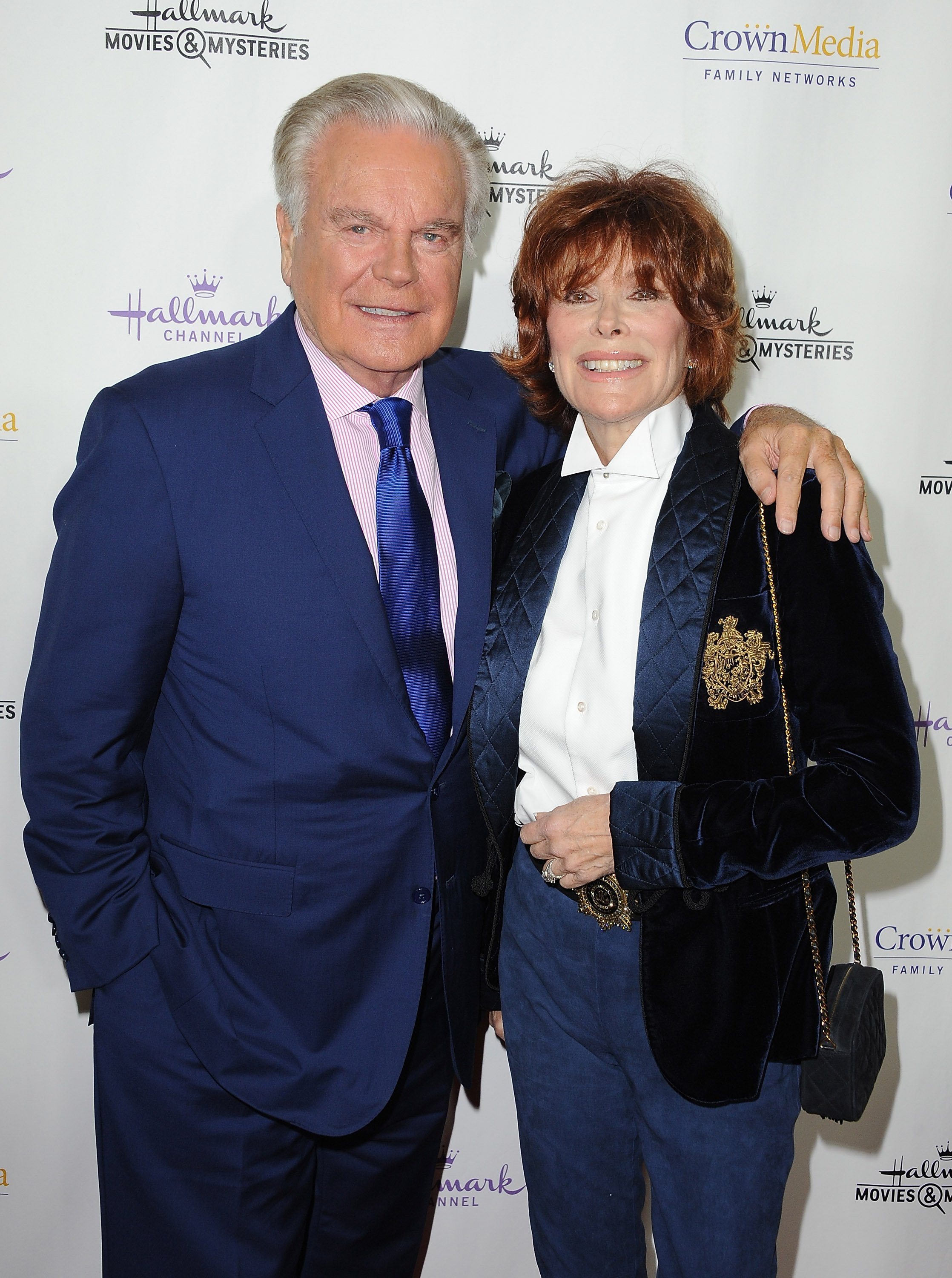 """Robert Wagner and actress Jill St. John arrive at Hallmark Channel's annual holiday event premiere screening of """"Northpole"""" at La Piazza Restaurant on November 4, 2014, in Los Angeles, California. 