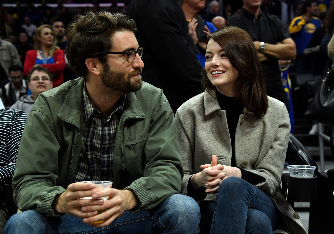 Emma Stone and Dave McCary during the Golden State Warriors and Los Angeles Clippers basketball game at Staples Center on January 18, 2019 in Los Angeles, California.   Source: Getty Images