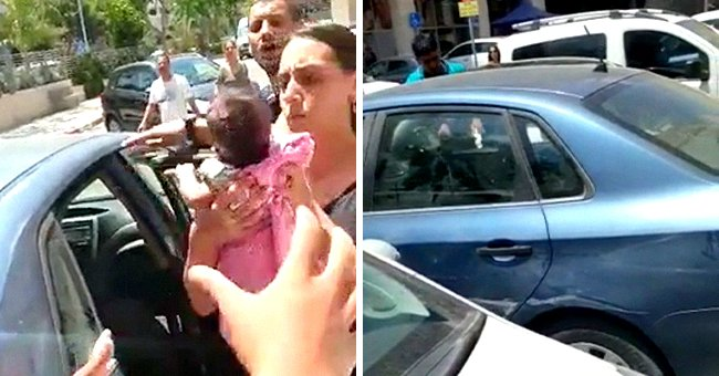 Someone Left Baby in a Car on a Hot Day and People Try to Break the Window