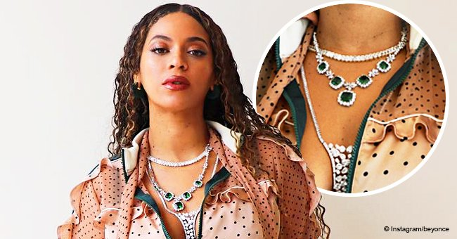 Beyoncé stuns in peach polka dot jumpsuit, showing off dazzling emerald jewelry in recent pics